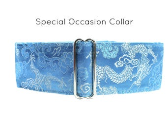 Silk Martingale Collar, Silk Dog Collar, Saluki Collar, Greyhound Martingale Collar, Turquoise Dog Collar, Asian Brocade Martingale