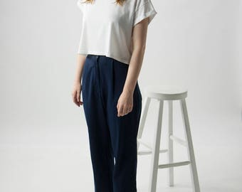 Navy Pleated Pants / High Waisted Pants / Retro Dark Blue Pants