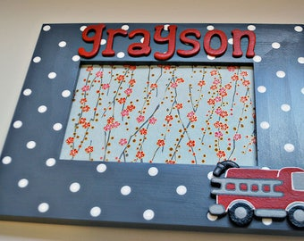 Fire truck frame for kids Personalized fire truck picture frame for children
