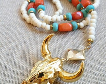 Ox Skull Necklace, Rodeo Cow Skull Necklace, Boho Tribal Bone Jewelry, Bone Bead Necklace, Longhorn Pendant, Coral and Bone Necklace