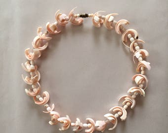 1950s angel pink sea shells choker neckalce || shells necklace