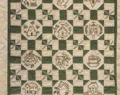 "SALE! Primitive Folk Art Embroidery Pattern - Mini Quilt - 'My LITTLE HOME"" - Design by Kathy Schmitz"