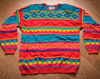 B.G. Basics Sweater, Bright & Colorful, Vintage 80s-90s, Rap Hip Hop Swag Apparel, Long Sleeve Shirt w/Shoulder Pads, Geometric Aztec Design