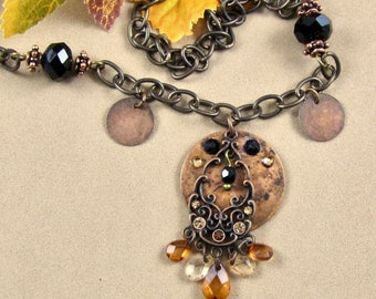 Black Crystal and Copper Necklace
