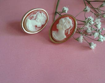 Cameo Studs | vintage stud earrings pink ivory gold carved collectible present gift women portrait bust jewelry