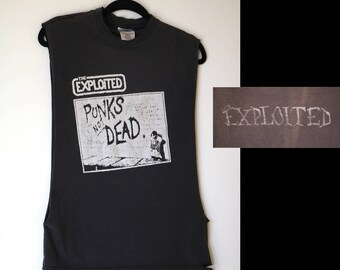 THE EXPLOITED tee | S/M faded cut DIY salvaged upcycled punk rock band 80s vintage tshirt ringer neck sleeveless tank unisex black and white