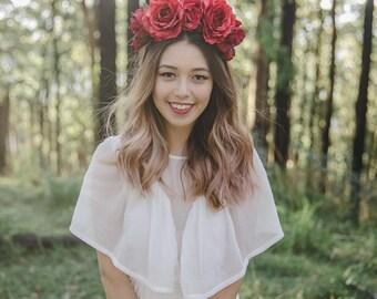 red statement flower crown // flower crown fascinator, red spring racing flower crown, statement floral headpiece headband