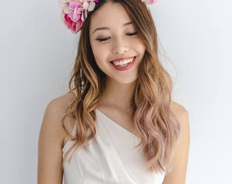 statement flower crown // pink spring racing flower crown / spring races flower crown headband / flower fascinator bohemian