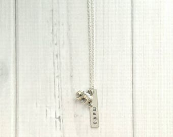 Mama Bear Necklace - silver hand stamped mom / momma charm - personalized pendant - tiny little small fierce protect child children mother