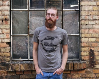 Shirt three whales fair wear / organic men shirt _grey melange
