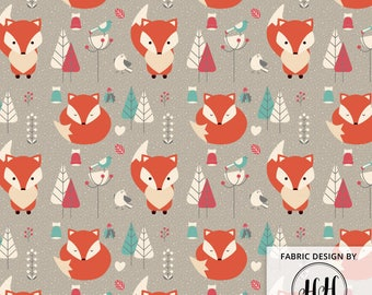 Winter Fox Fabric By The Yard - Woodland Wintertime Snow Red Fox Print in Yard & Fat Quarter