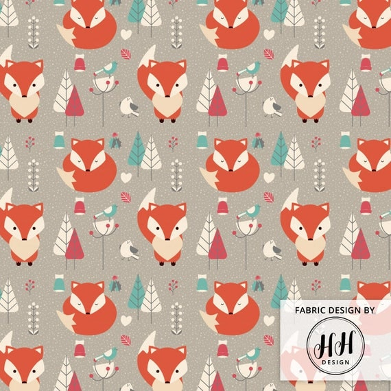 Winter fox fabric by the yard woodland wintertime snow for Fox print fabric