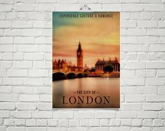 London City Art Print 18x24 Poster Fine Art Print England Wall Art Print British Decor City Skyline Art Colorful Wall Art