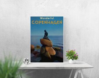 Copenhagen Wall Art A4 Print A3 A2 Poster Retro Travel Poster Little Mermaid Denmark Poster Print Copenhagen City