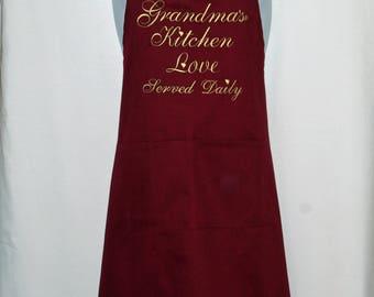 Grandma Apron, Mitzi Kitchen, Love Served Daily, Custom Personalized, Grammie, Lulu, Meema, Grandparent Gift, Ships TODAY, AGFT 1252