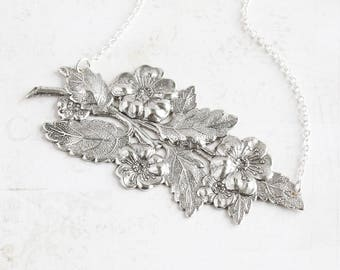 Antiqued Silver Plated Large Wild Rose Flower Pendant Necklace