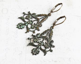 Dark Green Patina Floral Filigree Dangle Earrings on Antiqued Brass Hooks