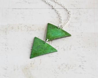Two Triangle Necklace, Aged Green Triangle Pendant on Silver Plated Chain, Hand Patina Necklace, Geometric Jewelry