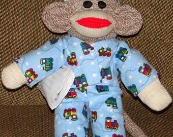 Small Sock Monkey, Red Heel Sock Monkey, Small Monkey with Blue Pajamas, New Baby Gift, Baby Shower Gift, Nursery Decor
