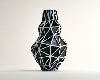 Polygon Bud Vase - Black and White Vase Geometric Vase