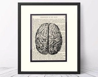 Brain over Vintage Medical Book Page - Neurology, Neurologist, Gift for Neurologist, Human Brain, Anatomical Brain, Brain Print,  Brain Art