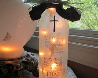 Christian wine bottle,Scriptures,Bible verses,wine bottle lights,wine bottle lamp,lighted bottles,lighted wine bottles,glass lighted bottles