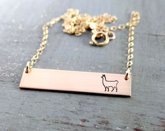 Llama Gold Bar Necklace. Add Custom Name or Words. Hand Stamped Simple Layering Bar Necklace. Rose Gold, Gold, or Silver