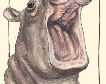 Happy Fiona the Hippo Watercolor Art Print, Animals, Zoo, Cincinnati Art