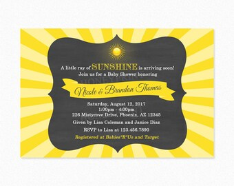 Sunshine Baby Shower Invitation, Our Little Sunshine, Gender Neutral, Personalized, Printable or Printed