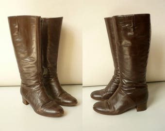 1970's Vintage Chocolate Bohemian Brown Leather Gogo Knee High Boots Size UK 4