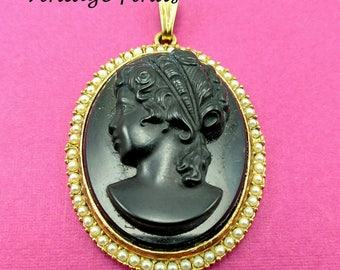 Vintage Black Glass Cameo Pendant with Tiny Pearls -251 V