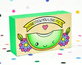 honeydew you love me? / original painting on cradled wood panel / melon fruit pun kawaii art