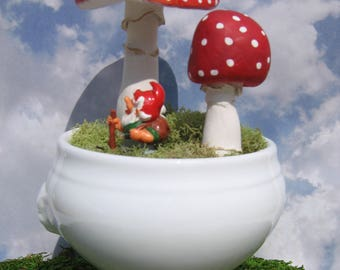 Handmade Vintage Paperclay Mushrooms in a Lion's Head Bowl with a Tiny Gnome