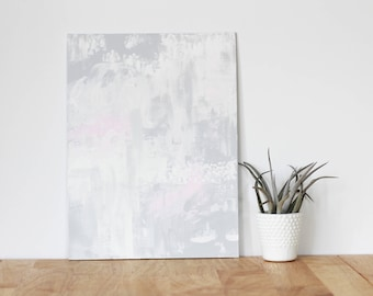 """gray wall art acrylic painting, """"abstract 3"""" - are you my bestie, flat 9x12 canvas, gift for friend, best friend, portrait, gift, wall art"""
