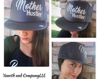 Mother Hustler Dark Gray and Silver Glitter Trucker Hat,Mother Hustler Trucker Hat, Mother Hustler Hat with heart,mom hustler trucker hat