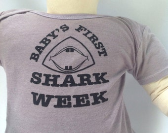 Sale Baby's First SHARK WEEK onesie with FIN!