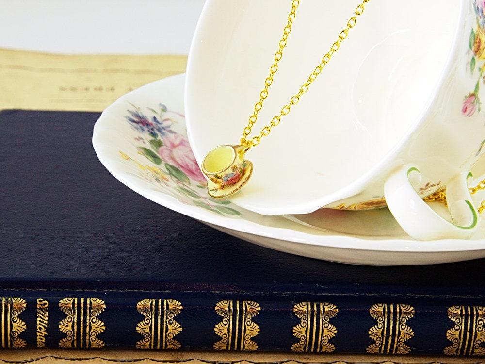 Yellow Teacup Necklace - Tea Gift Idea - Teacup Jewellery