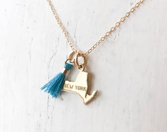 TINY tassel state necklace personalized US state charm necklace with colorful tassel you pick state and color Texas California Florida