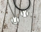 Custom Baseball/Softball Charm with number - Hand-Stamped Charm Necklace - Sports