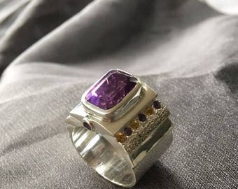Amethist and sapphire sterling silver ring