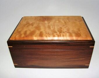 "Fine Exotic Keepsake Box. Exotic Bolivian Rosewood and Figured Maple Keepsake Box. 8.25"" x 5.75"" x 4"". Handcrafted Wooden Memory Box."
