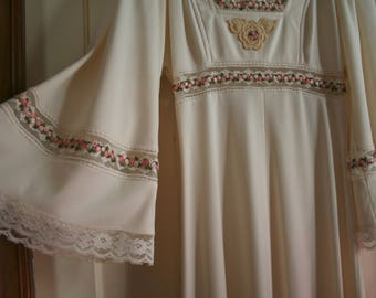 70s Vintage DRESS BRIDAL Boho PROM Maxi Roses Hippie Gown LOvEly