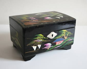 Japanese Black Lacquer Painted Jewelry Box
