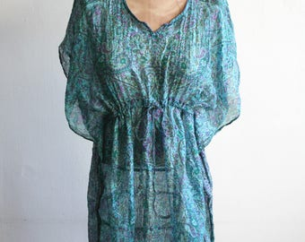 Sheer Indian Silk Teal Tunic
