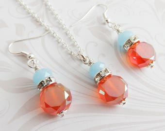 Orange bridesmaid jewelry set, burnt orange with blue, crystal necklace and earrings, fall wedding jewelry, bridal party gift