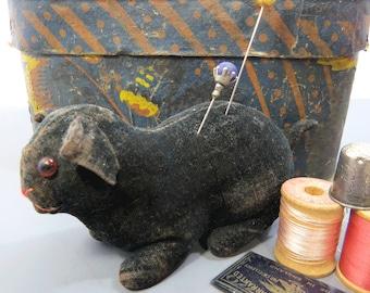 Velvet Cat Pincushion, Antique Figural, Primitive Folk Art, Glass Eyes, Pin Cushion