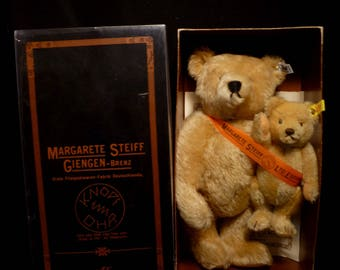 Vintage 1981 Steiff Mohair Mama Bear and Baby 15 and 7 in. #0155/38 Set With Box and COA