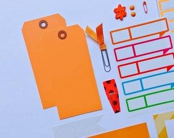 Orange Tag + Embellishment Collection . Scrapbooking Mixed Media Mini Album . Beginner Planner Midori Travelers Notebook Listers Kit