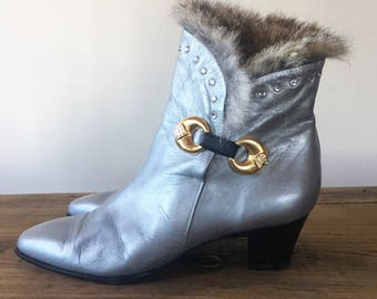 Vintage 80s Silver Leather Fur Lined Rhinestone Boots with Gold Buckle, High Heel Boots, Women's Boots, Size 38.5