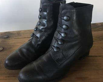 Vintage Black Leather Granny Boots, Ankle Boots, High Heel Boots, Button Boots, Women's Boots, Size 7